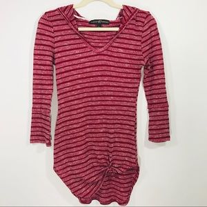 Almost Famous Red Striped 3/4 Sleeve Hooded Top L